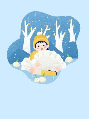Winter solstice bánh bao phim hoạt hình vẽ tay quảng cáo nền Phim Hoạt Hình Hình Nền