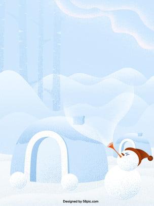 Winter solstice tuyết vẽ tay người tuyết vòm quảng cáo Tuyết Vẽ tay Người tuyết Cổng Vòm Thuật Bốn Hình Nền