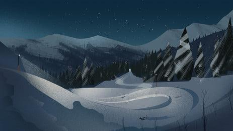 शीतकालीन संक्रांति स्नो माउंटेन बैकग्राउंड, सुंदर, सर्दी, कार्टून पृष्ठभूमि छवि