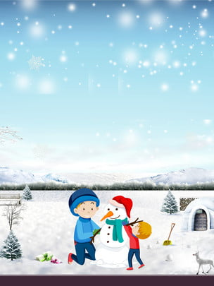 冬季主題雪花雪地背景 , 星空, 雪花, 堆雪人 背景圖片