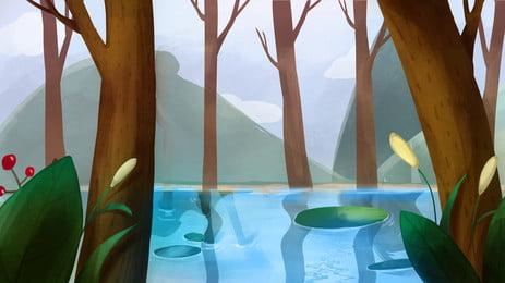 Documents de Woods Adventures Bois Surface du lac Feuilles Feuille Frais Matériel Fond Image De Fond
