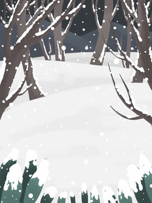 tangan salji woods dilukis gambaran ilustrasi , Latar Belakang Minimalis, Latar Belakang Segar, Latar Belakang Musim Sejuk imej latar belakang