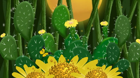 yellow cactus blossoming flower cartoon background, Green, Cactus, Moon Background image