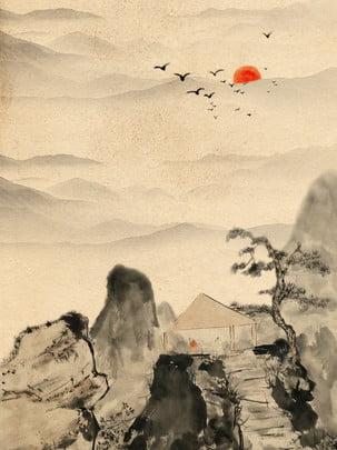 黃色復古中國風山水畫背景 , 黃色, 復古, 山水畫 背景圖片