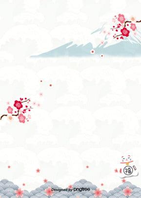 日本の伝統の梅の波のポスターの背景 , 富士山, 手絵, 招き猫 背景画像