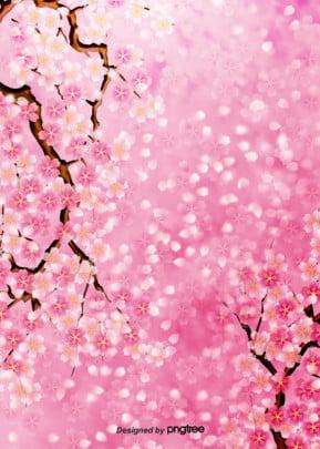 玫粉色繽紛櫻花日系清新背景 , 創意, 手繪, 插畫 背景圖片