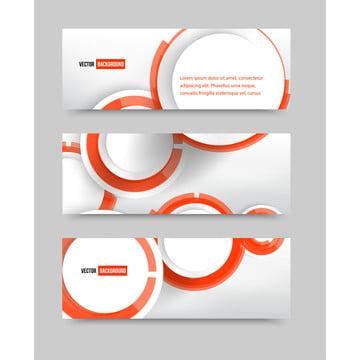 ベクトルは、赤い円と白の抽象的なバナーを設定 , 3 D, 抄録, アート 背景画像