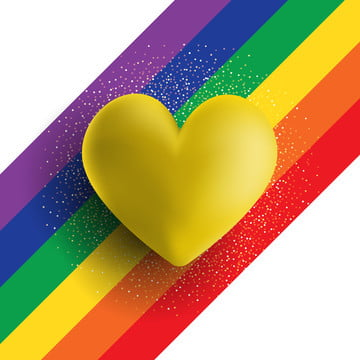 gold 3d heart on a rainbow striped background , Vector, Background, Valentine Background image