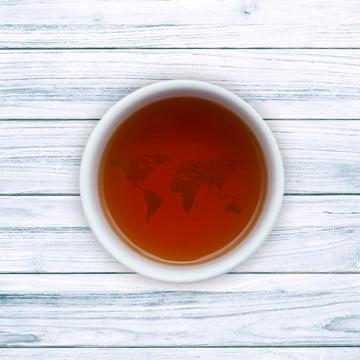 चाय के कप के साथ दुनिया के नक्शे , पेय, काली चाय, सीलोन चाय पृष्ठभूमि छवि