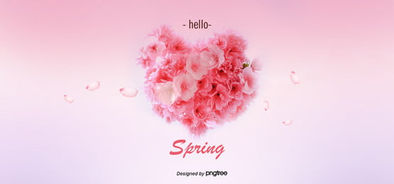 핑크 로맨틱 벚꽃 하트 그라데이션 배경 , 아름답다., 봄철, 벚꽃 배경 이미지