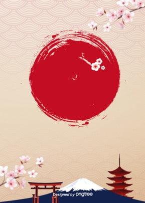 ファッションの美しさと和風の装飾の背景 , 唯美, 富士山, 建物 背景画像