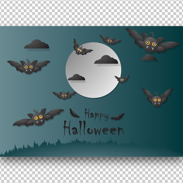 हेलोवीन दिन कागज कला 3 डी कला पृष्ठभूमि छवि