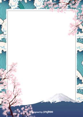 日本浮世繪手繪簡單和風背景裝飾設計 , 卡通, 復古, 富士山 背景圖片