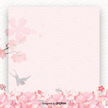 粉色簡約艺文浪漫櫻花飛舞暗紋海報展板背景 , 小清新, 艺文, 櫻花 背景圖片