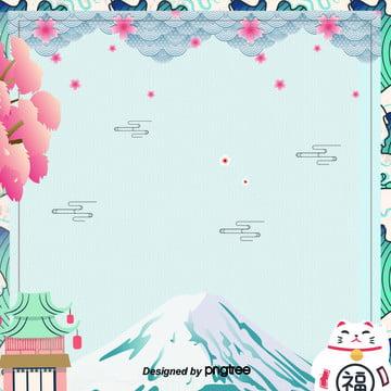 日式清新藍色富士山招財貓櫻花寺廟背景 , 日本富士山, 日本廟宇, 日本招財貓 背景圖片