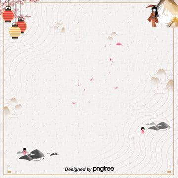 日式簡約粉色櫻花燈籠和服富士山背景 , 和服, 日式, 日式波浪 背景圖片