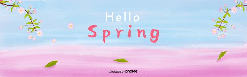 봄철 상큼한 점변과 벚꽃 배경 , 봄, 봄, 봄철 배경 이미지