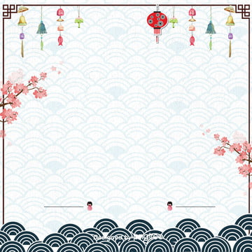 日式簡約風鈴櫻花藍色波浪電商背景 , 日式, 日式和風, 波浪 背景圖片