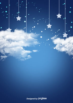 Blue Star And White Cloud Sky Cartoon Background, Cartoon, Luminescence, Lovely, Background image