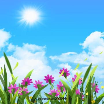 मिठाइयां गुलाबी वसंत फूल रचनात्मक सफेद बादलों के खिलाफ एक नीले आकाश पृष्ठभूमि के चित्रण , रचनात्मक, सूर्य, मिठाइयां पृष्ठभूमि छवि