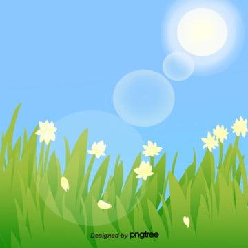 青い空の美しい春の花の春の景の手描きの挿絵の背景 , 手絵, イラスト, 春の景 背景画像