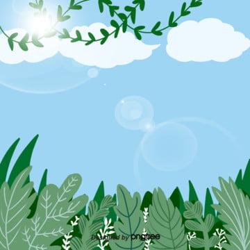 青空と白い雲の美しい緑の木の絵の挿絵の背景 , 手絵, イラスト, 晴れ 背景画像