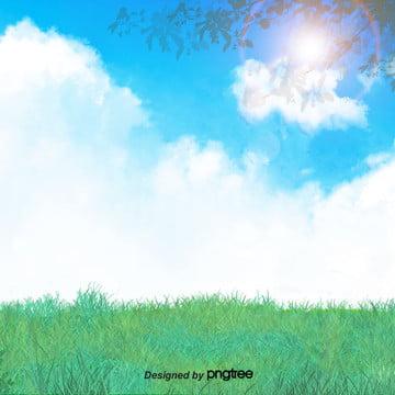 青い空の白い雲と緑の木の小さい清新な背景 , すがすがしい, 白雲, 緑の木 背景画像