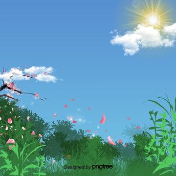 青い春の花びらが舞い落ちる背景 , 雲の輪, 太陽, 春 背景画像