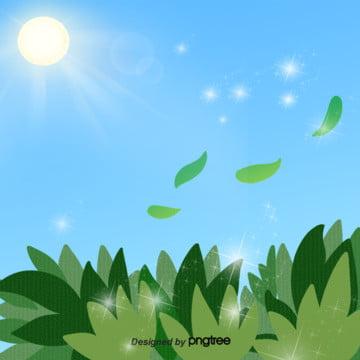 クリエイティブキャラクターの緑の葉の青空の絵のイラストの背景 , アイデア, アニメ, 手絵 背景画像