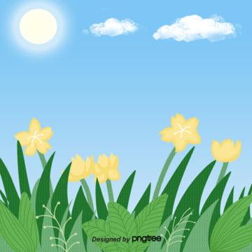 クリエイティブな黄色の春の花の緑の葉の手描きの青空の挿絵の背景 , 手絵, イラスト, 春の背景 背景画像