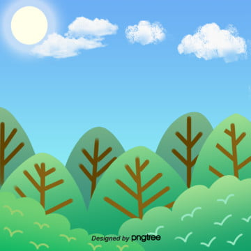Green Forest Blue Sky Creative Cartoon Hand-painted Xiao Qingxin Illustration Background, Creative, Cartoon, Sunlight, Background image