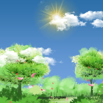 青い春の日差しの背景 , 雲の輪, 太陽, 春 背景画像