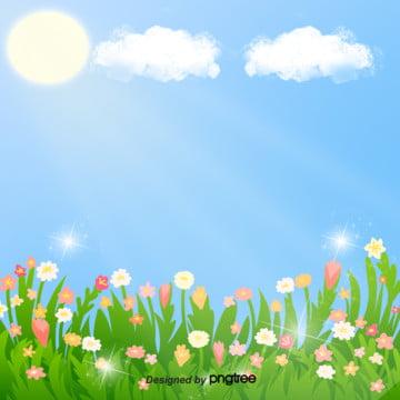 ロマンチックな春の花の美しい青空の絵のイラストの背景 , 手絵, イラスト, 春の花 背景画像
