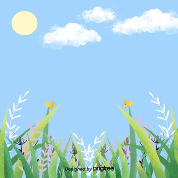 美しい青い空の春の花のアイデアのイラストの背景 , アイデア, すがすがしい, イラスト 背景画像