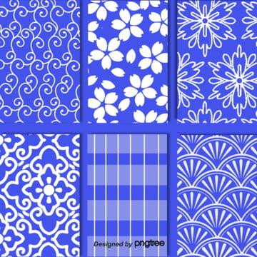 コバルトブルー和風デザインのテクニカル背景 , 雲の紋, 幾何学図, 図案 背景画像