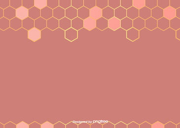 Coral Pink Honeycomb Simple Luxury Geometry Golden Edge Background, Geometric, Northern Europe, Pattern, Background image