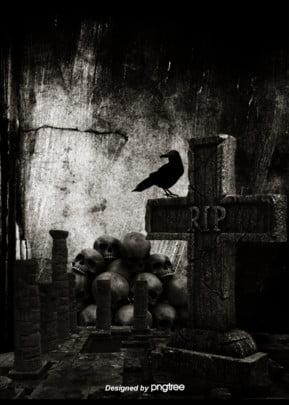 암흑묘비 해골 머리 까마귀 고딕 배경 , 까마귀, 무섭다, 고딕 식 배경 이미지