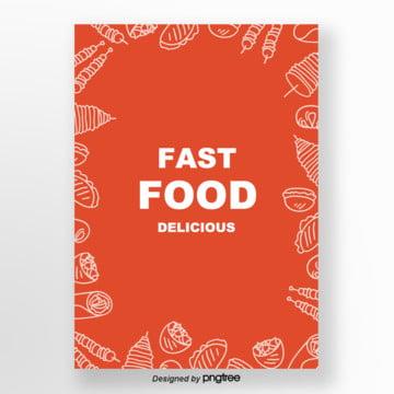 de linhas simples  fast food , Cartoon, Fast Food, Pintados à Mão Imagem de fundo