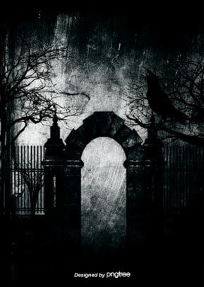 암흑철문 석주 까마귀 나무림 고딕 배경 , 까마귀, 무섭다, 무섭다 배경 이미지