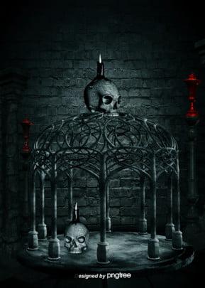 暗い頭の頭の石の室の鉄のかごのキャンドルの灯台のゴシック式の背景 , ゴシック式, 恐怖, 柱 背景画像