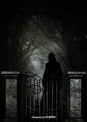 暗い鉄の扉の石柱の森の人影のゴシックな背景 , 人, 人影, 恐ろしい 背景画像