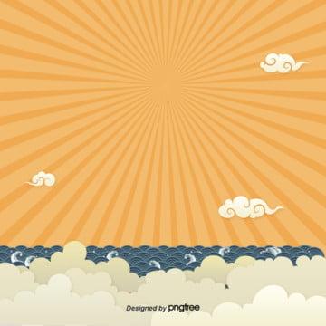 日系黄色波の波の背景 , 光の光, 日系, 波 背景画像