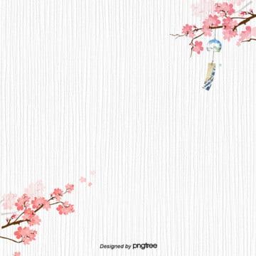日系シンプルなピンクの桜風鈴筋の背景 , 風と風, 日系, 桜の花 背景画像