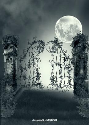 암흑철문 석주 달 초지 고딕 배경 , 고딕 식, 밤, 밤 배경 이미지