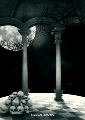 암흑달 수림 해골 두개 고딕 배경 , 정자, 고딕 식, 밤 배경 이미지