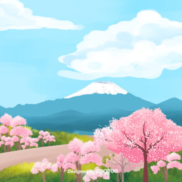 美しい日本富士山桜psdフォーマットの背景 , 富士山, 日本, 桜の花 背景画像