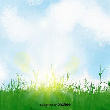 さわやかな緑の青い空の雲の背景 , 清新な背景, 緑の木, 緑色の環境保護 背景画像