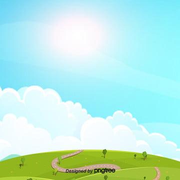 青い空と白い雲の木の山の斜面の緑色の背景 , 木, 清新な背景, 白雲 背景画像