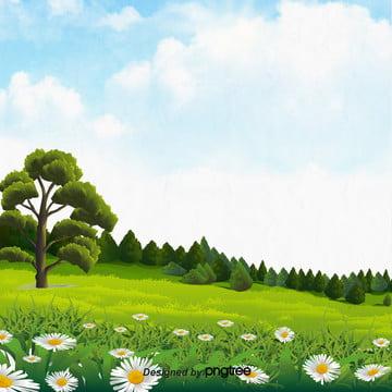 青い空の草花の樹木の緑色の環境保護の清新な背景 , 木, 清新な背景, 緑の木 背景画像
