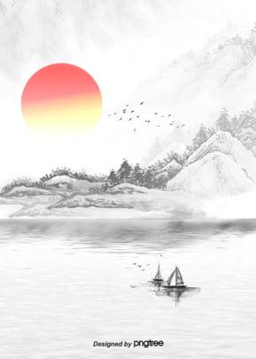mặt trời mọc nền các núi truyền thống thuỷ mặc , Nubigena, Truyền Thống., Trên Bầu Trời. Ảnh nền